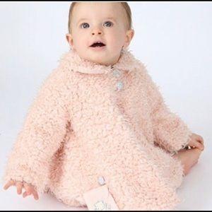 12M Baby Girl Pastel Pink/Peach Coat Matching Hat